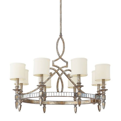 Palazzo silver and gold leaf eight light chandelier capital lighting fixture company candl