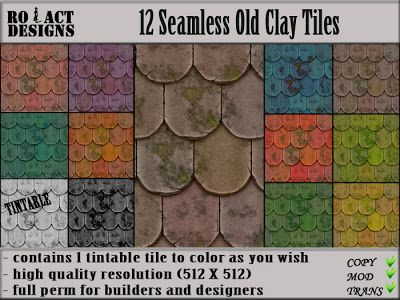 Ro!Act Designs 12 Old Clay Roof Tiles