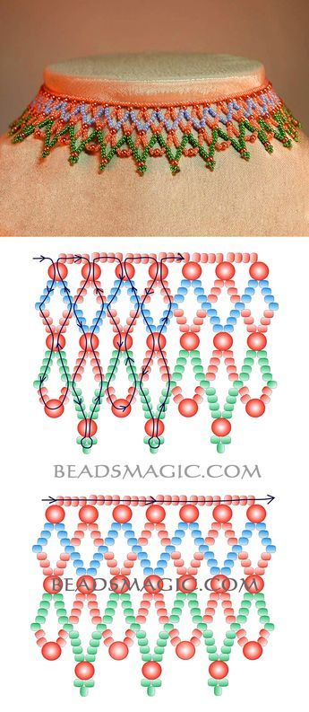 Free pattern for beaded necklace Russo 11/0-4 mm