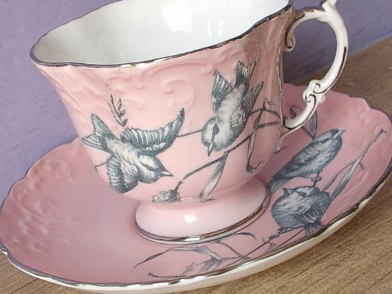 Aynsley Pink tea cup set with sparrows!