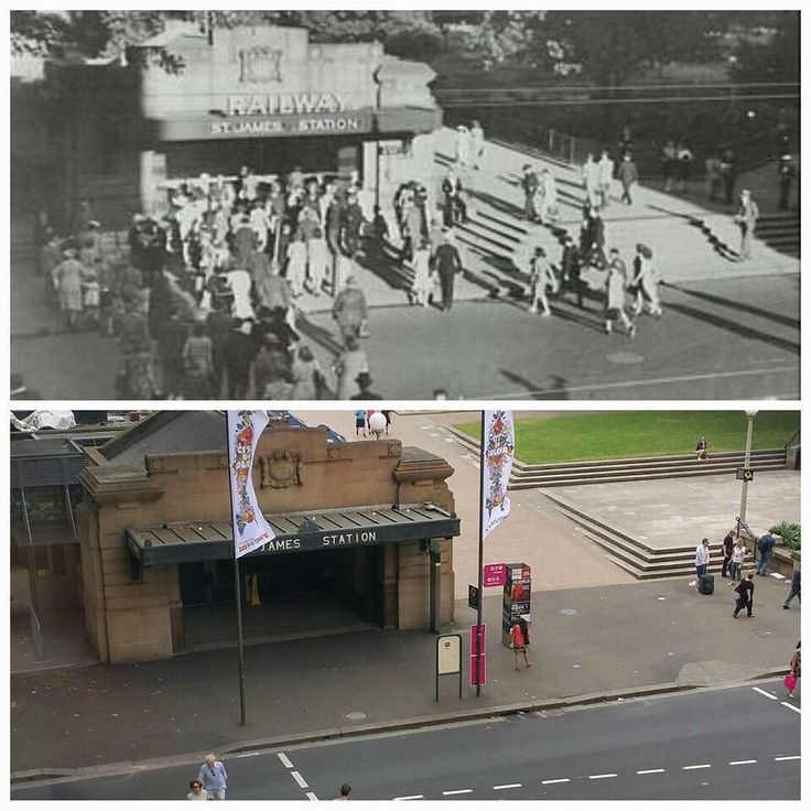 Elizabeth St entrance to St James Railway Station 1940s and 2016. [1940s - City of Sydney>2016 - Allan Hawley. By Allan Hawley]