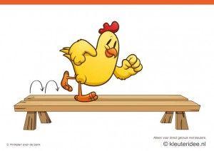 Bewegingskaarten kip voor kleuters 3, hinkelen over de bank , kleuteridee.nl , thema Lente, Movementcards for preschool,  free printable.