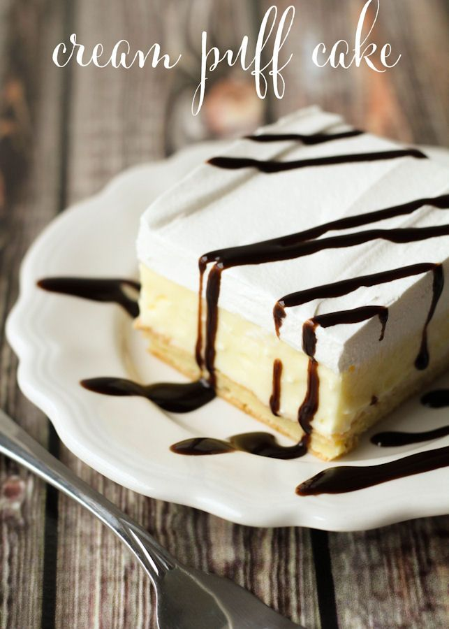 Cream Puff Cake - like a chocolate eclair, this is easy to make, using only a few ingredients.   lilluna.com