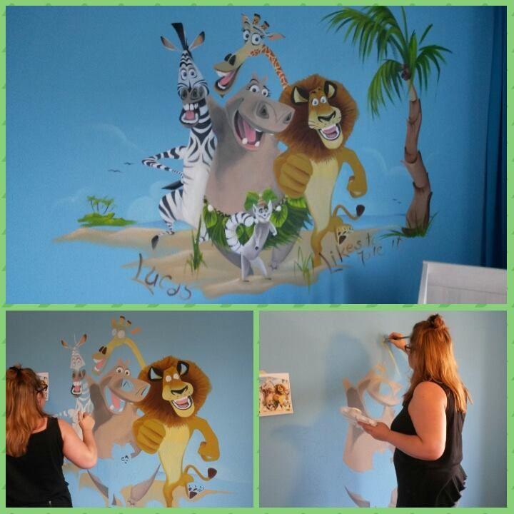 madagascar op het strand muurschildering in plaats van muursticker of fotobehang