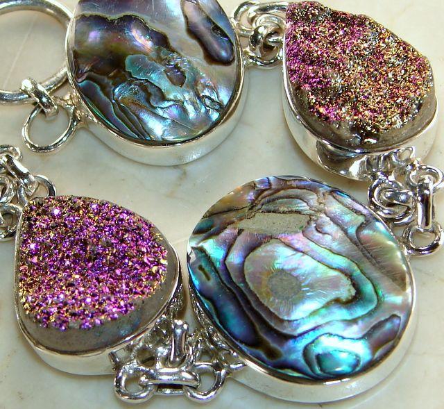 Abalone Shell & Druzy Silver Bracelet Best Quality Silver Bracelet Supplier