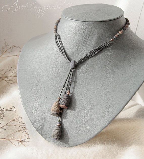 Pendant Poppy seed heads  Polymer clay Necklace  by AleksPolymer