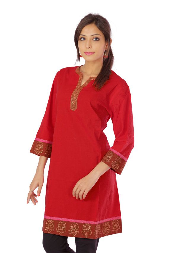 Pure Cotton Sexy Red Color Printed Ethnic Kurti door ShopRajasthan, $22.00