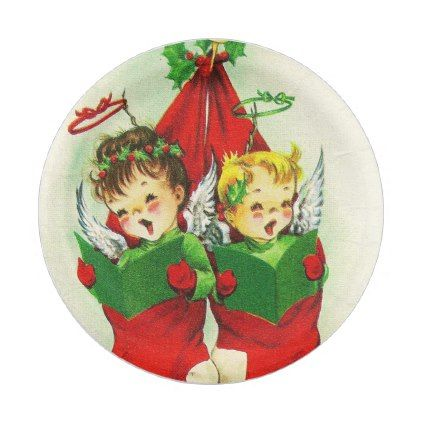 #Vintage retro Christmas stocking kids plate - #giftideas for #kids #babies #children #gifts #giftidea