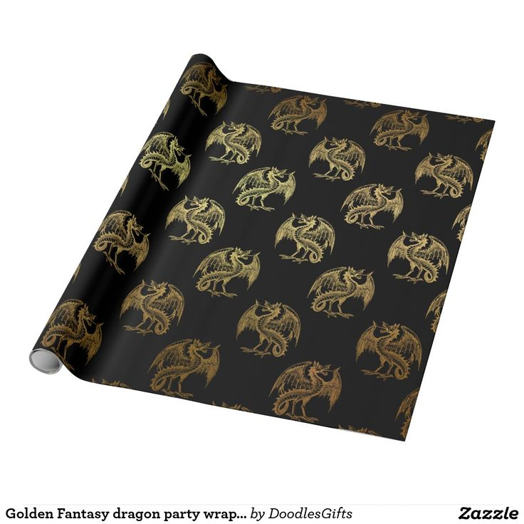 Golden Fantasy dragon party wrapping paper