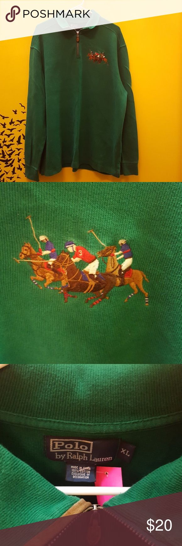 polo Ralph Lauren sweatshirt This is a green sweatshirt Me by Ralph Lauren polo, polo horses on it with zipper in the front Polo by Ralph Lauren Sweaters