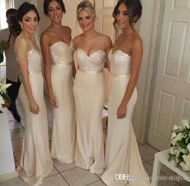 Wholesale vestido de madrinha 2015 Cheap Top Sequins Sparkly Sweetheart Bridesmaid Dresses Light Champagne Mermaid Formal Prom Gown For Wedding BO3527 from China :$57.49 | DHgate.com