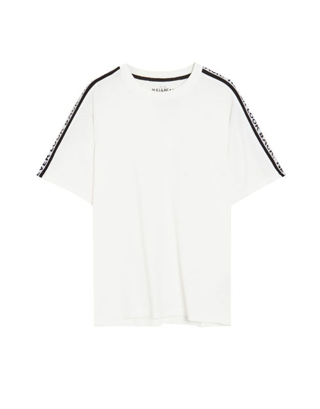 Playera Cinta Texto Pull Bear Clothes Crop Tops Tops