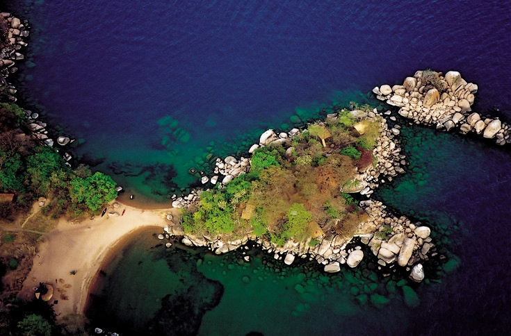 Lake Malawi from the air.  Travel to Africa with Nomad Adventure Tours on your next holiday.