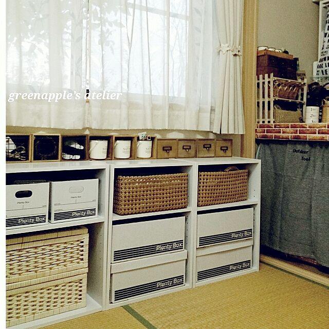 カラーボックスにスッキリ収納 収納ボックス 実例 和室 収納棚 カラーボックス 収納
