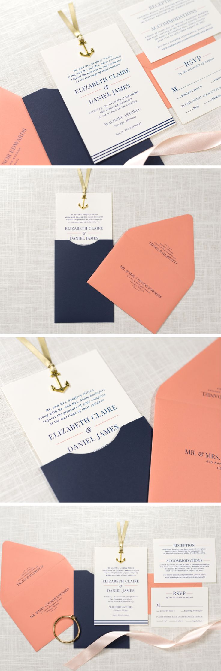 Sliding Wedding Invitation with Anchor Charm Embellishment