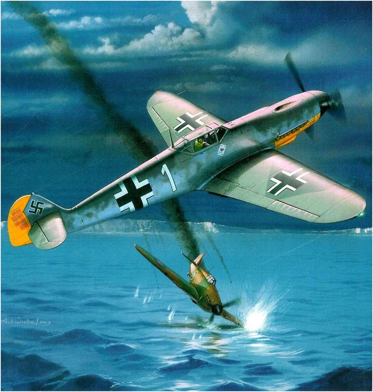 Messerschmitt Bf-109F-3, «Blanco 1», Oblt. Josef Priller, Staffelkapitän de la 1./JG.26 «Schlageter», derriba un Hurricane sobre el Canal de la Mancha, Octubre de 1941. Arkadiusz Wróbel . http://www.elgrancapitan.org/foro/viewtopic.php?f=52&t=17924&p=915165#p915133