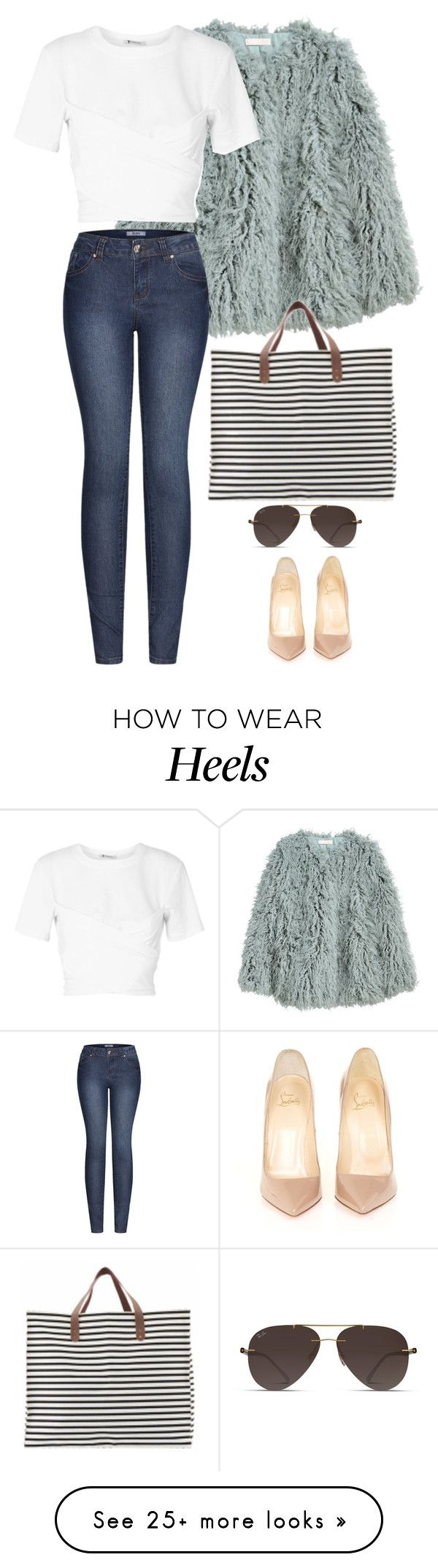 """""""grocery shopping in heels"""" by yolo-12 on Polyvore featuring H&M, T By Alexander Wang, 2LUV, Christian Louboutin, Ray-Ban and House Doctor"""