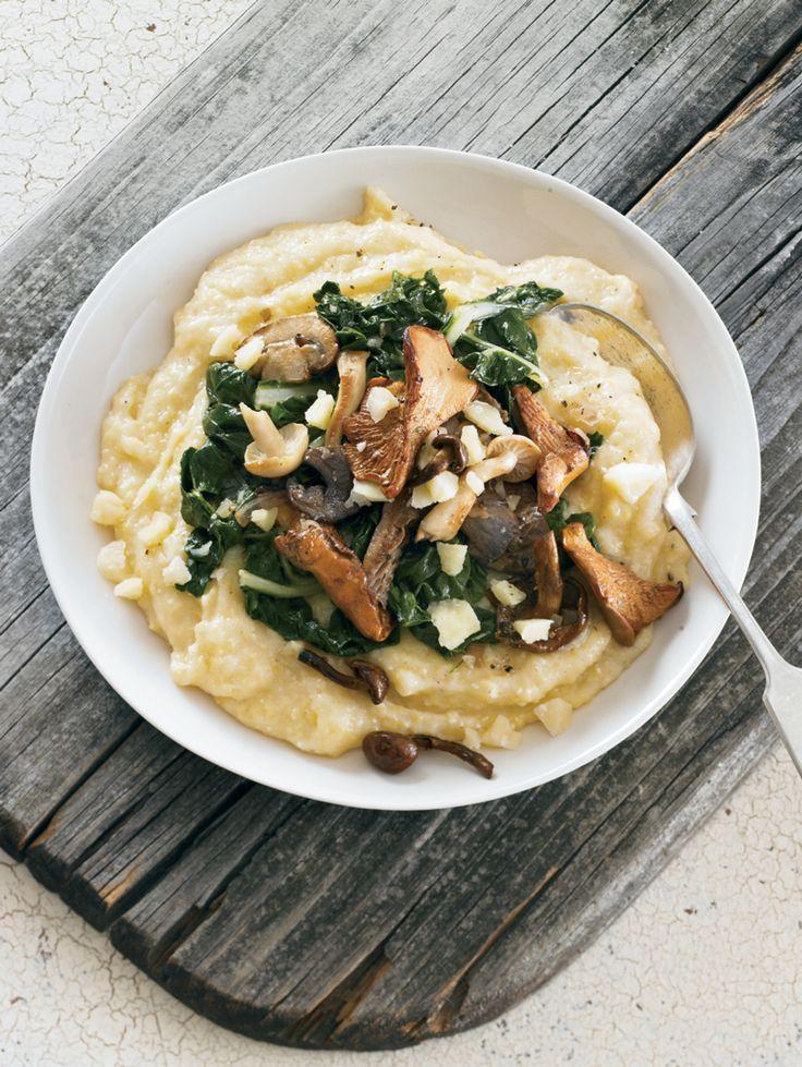 polenta with white cheddar, chard, and wild mushrooms (vegetarian, gluten free, no refined sugar)