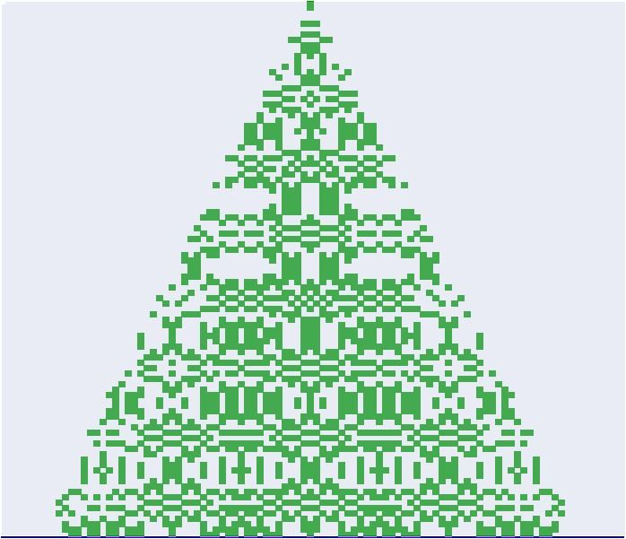 A pixelized christmas tree made via Microsoft Excel vba  with the formula : Sin(Cos((y / 2) ^ 2 - (x - 50) ^ 2)) * y / 2 >  Cos(Sin((x - 50) ^ 2 - (y / 2) ^ 2)) * Abs(x - 50) Then Condition = TRUE  (x=col nr, y=row nr; if condition = TRUE, cell is colored in green)