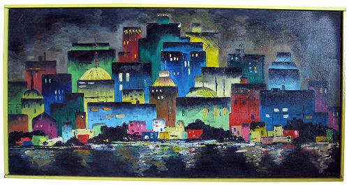 Cathy Earle - Cityscape Oil Painting circa 1973