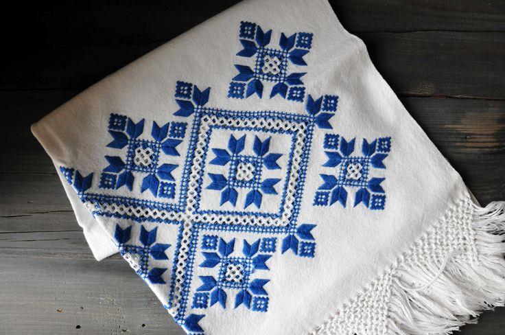 Embroidered Homespun Kitchen Towel, Antique Tea Towel, Homespun Linen by ColoursAndSoul on Etsy