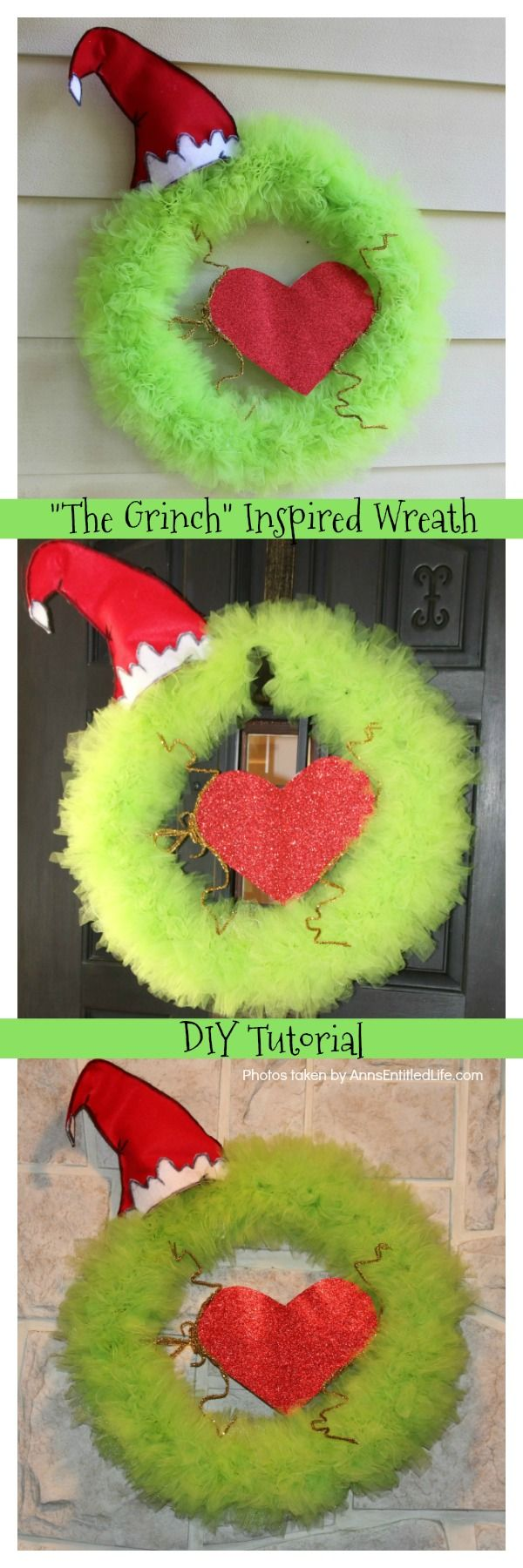 The Grinch Inspired Wreath DIY Tutorial  A beautiful How the Grinch Stole Christmas inspired wreath sure to make even the coldest heart burst! This step by step tutorial is complete with (free) pdfs for the hat and heart for you to print and make exact. This wreath will look great on your front door, over your mantel, or on a wall. Truly unique holiday decor!