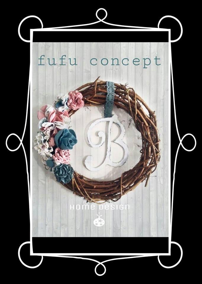 kumaş - çelenk - çiçek - wreath - home deco home design - fabric flower - ev dekorasyonu aksesuar