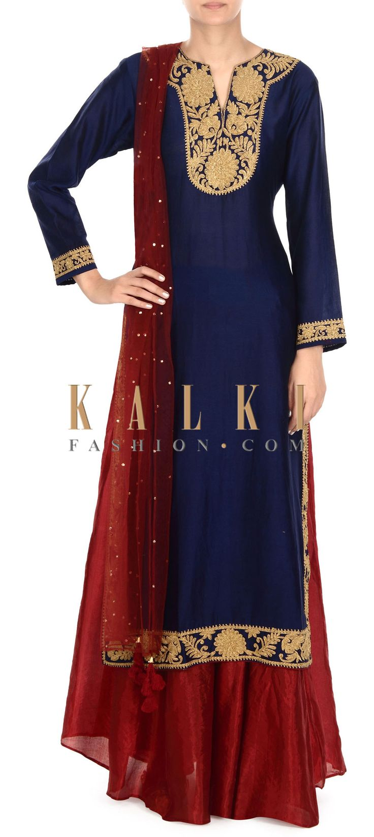 Buy this Navy blue straight suit with zari embellished placket only on Kalki