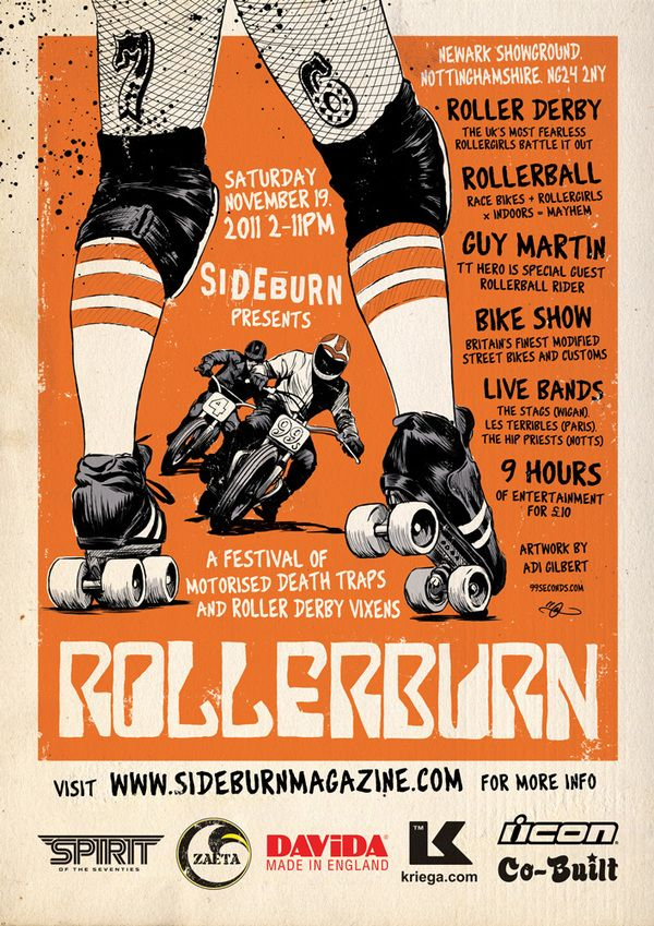 "Poster for Sideburn Magazine's Roller Derby / Motorcycle event ""Rollerburn"". Illustration by Adi Gilbert"