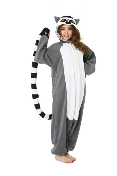 LOL, reminds me of king Julien in Madagascar!  Zizai Ku - Asian Pop Fashion! - Lemur Onesie Kigu