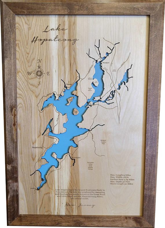 Title: Wood Laser Cut Map of Lake Hopatcong, NJ Topographical Engraved Map  Description: This is a beautifully detailed, laser engraved and precision cut topographical Map of Lake Hopatcong in Newark and Essex counties, New Jersey with the following interesting stats: Max. Length: 9 Miles Max.
