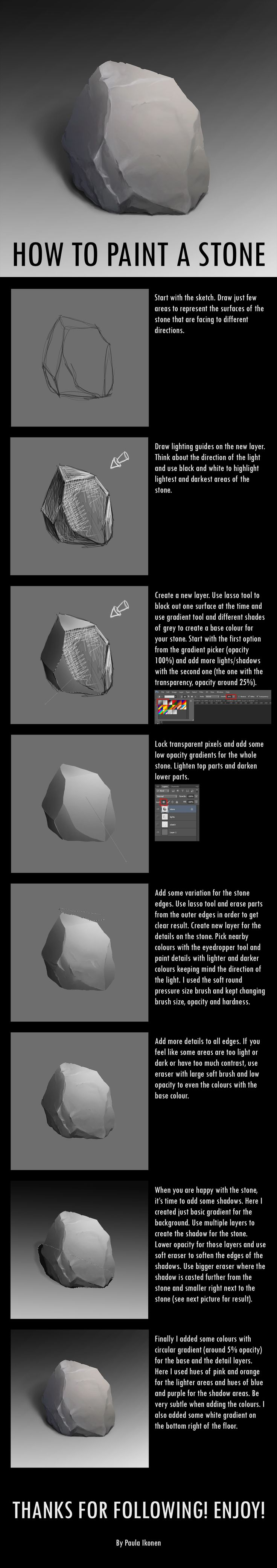 A stone tutorial for our uni course #rock #stone #digital #painting #tutorial #photoshop