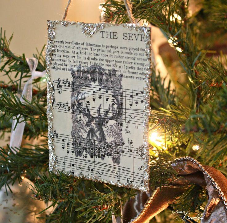All Things Beautiful: {Glass Glitter} DIY Sheet Music Ornaments