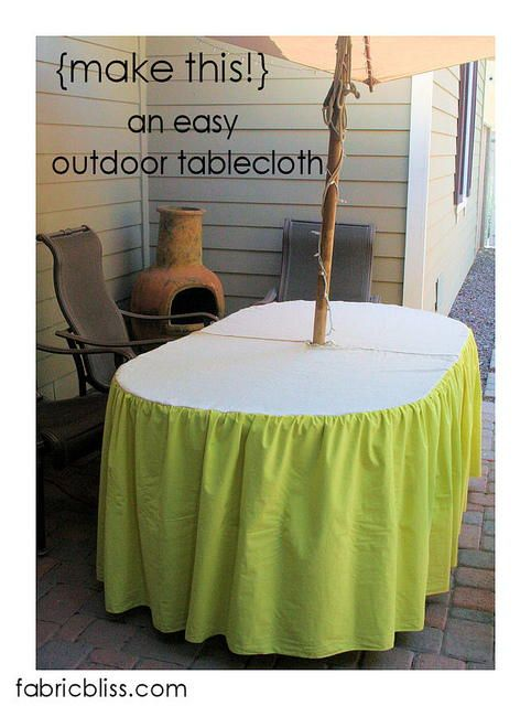 How To Make An Umbrella Hole This Tutorial From Fabric Bliss Shows You Add Velcro Awesome Outdoor Tablecloth