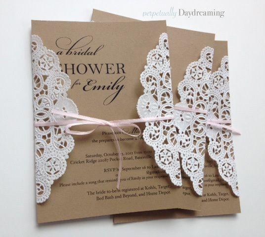 Elegant Country Bridal Shower Invitations + Tutorial