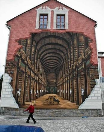 I think I pinned it first from the source so I want to add this is a picture of a library on ... a wall of a comunity library in Ustronie, Poland. Here's link to photos showing the creation of the mural  http://wiadomosci.ox.pl/wiadomosc,17339,takiej-biblioteki-nie-ma-nikt!.html