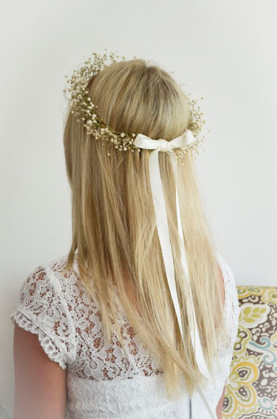FLOWER GIRL Babys Breath Halo / Crown / Hair by WoodlandSecrets, $39.00