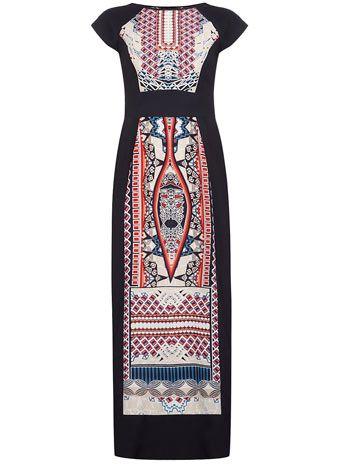 Dorothy Perkins Petite blue tribal maxi dress