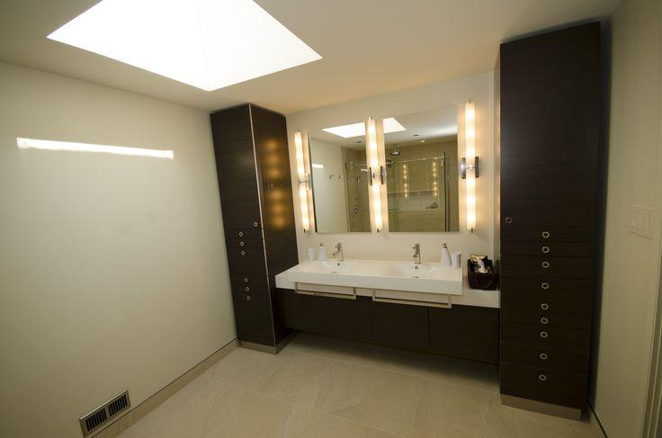 Custom vanity with double semi recessed sinks linen - Semi custom bathroom vanity cabinets ...