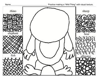 This download is a handout that will help your young students (k-2) practice creating a Wild Thing with visual texture inspired by the book Where the Wild Things Are by Maurice Sendak.You may also be interested in this wild thing interactive game.Here are some Wild Thing Examples.Use this student video to help them understand visual texture while they look at my student artists and their artwork: Visual Texture.