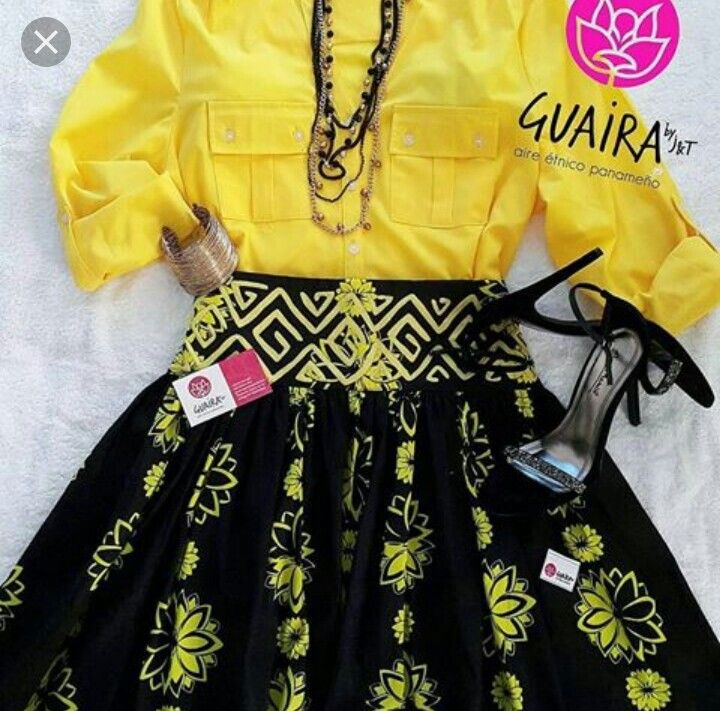 Saburete yellow skirt | Panamanian folk inspired dresses ...