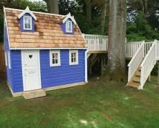 Two Storey Playhouse with Raised Decking Play Area
