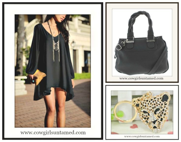 COWGIRL GLAM KEYCHAIN Black and Gold Crystal Leopard Head Key Ring/ Black Slit Sleeve Mini Dress/ Designer Black Handbag  #handbag #purse #bag #black #designer #minidress #slitsleeve #opensleeve #cocktaildress #party #sexy #cowgirl #western #leaoprd #animalprint #gold #keychain #keyring #bagjewelry #wholesale #boutique #fashion #style #beautiful #gift #onlineshopping
