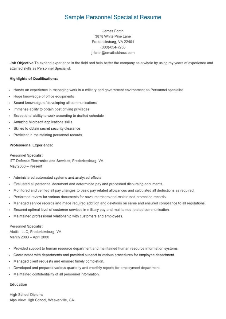 Sample personnel specialist resume resume specialist