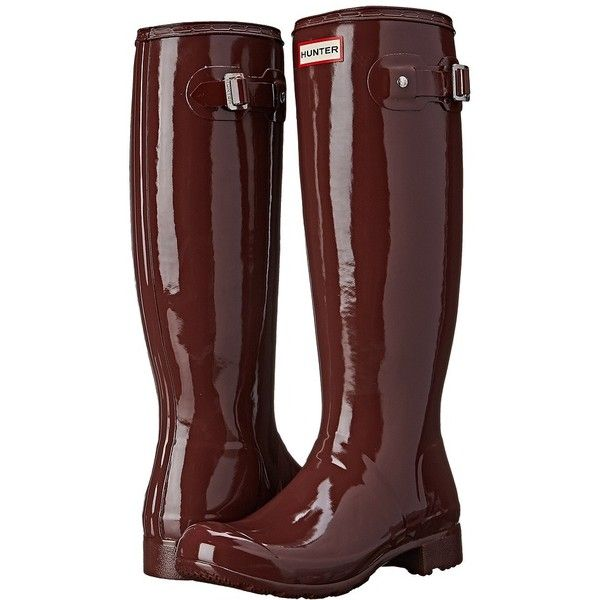 Hunter Original Tour Gloss Women's Rain Boots ($150) ❤ liked on Polyvore featuring shoes, boots, botas, waterproof rubber boots, hunter boots, white platform boots, wellington boots e white boots