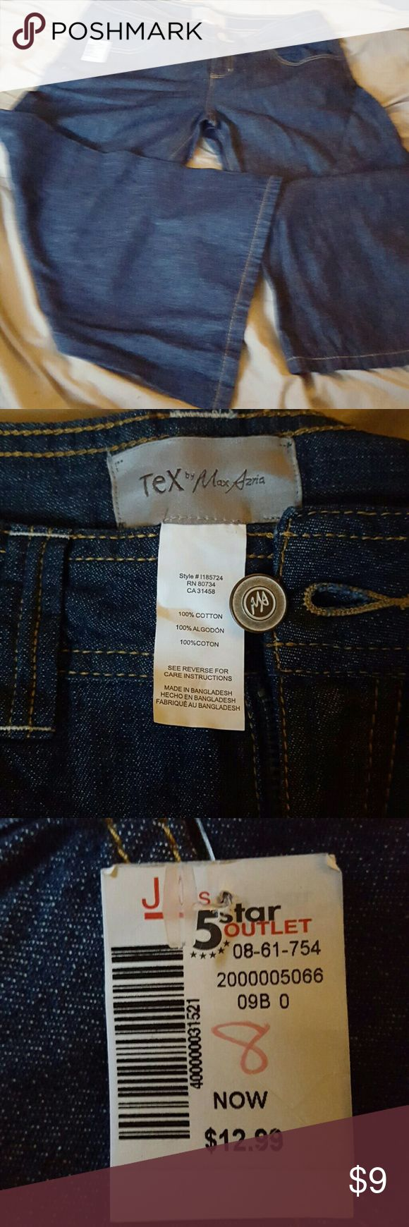 Capri Wide leg light weight jean capris, fitted waist.  Would work in winter with some boots n tights cutely.  Still has most of the tags, never worn, not sure what defect caused the outlet transfer because they look perfect to me.  Dark denim with gold stitch trim Tex by Max Azria Pants Capris