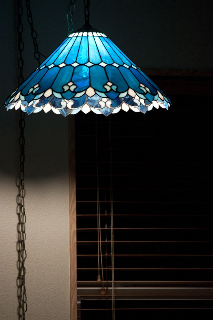 Beautiful blue and white stained glass lamp shade