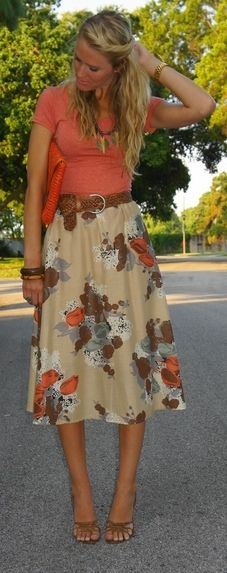 adorable summer outfit. Apricot color, midi skirt and a substantial braided belt.