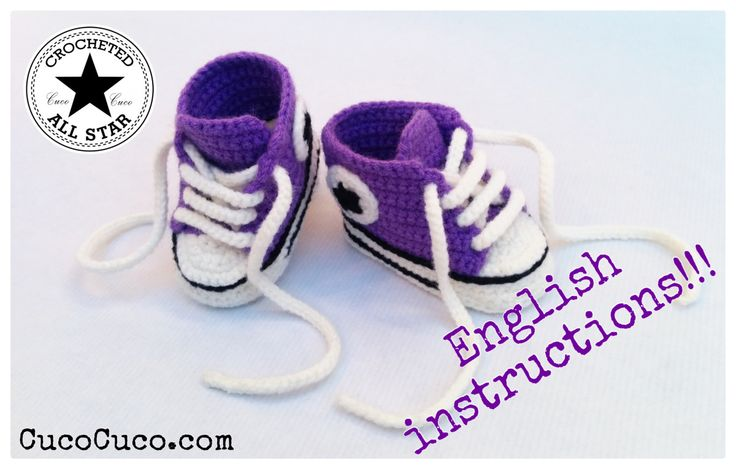 """Finally available english tutorial baby booties """"crocheted all star"""", hope you enjoy it!!!  Pattern form cucocuco.com"""