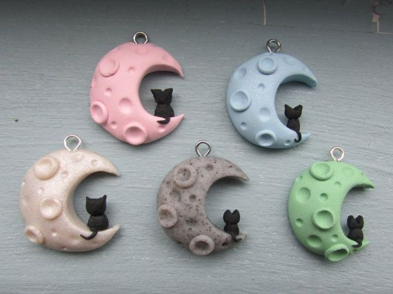 6 Colors Black Cat on a Moon Polymer Clay Charm by MeowCharms